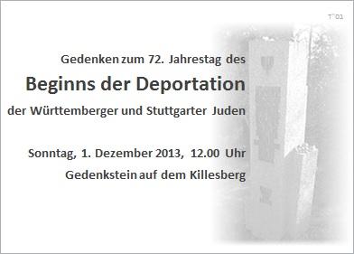 Gedenken anlässlich des 72. Jahrestags des Beginns der Deportation der Württemberger und Stuttgarter Juden