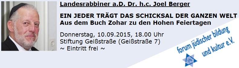Vortrag von Landesrabbiner a.D. Dr. Joel Berger: