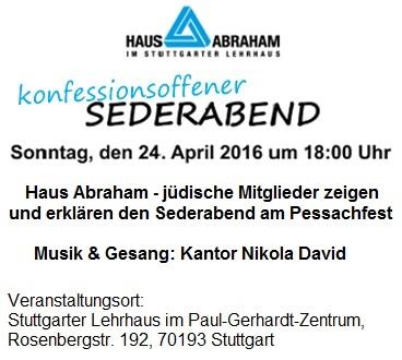 Konfessionsoffener Sederabend im Haus Abraham