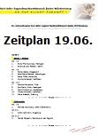 Zeitplan f�r den ersten Wettbewerbstag, Sonntag, 19.06.2016