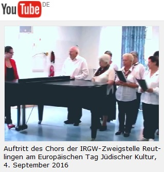 Europäischer Tag Jüdischer Kultur am 4. September 2016 - hier: Auftritt des Chors der IRGW-Zweigstelle Reutlingen
