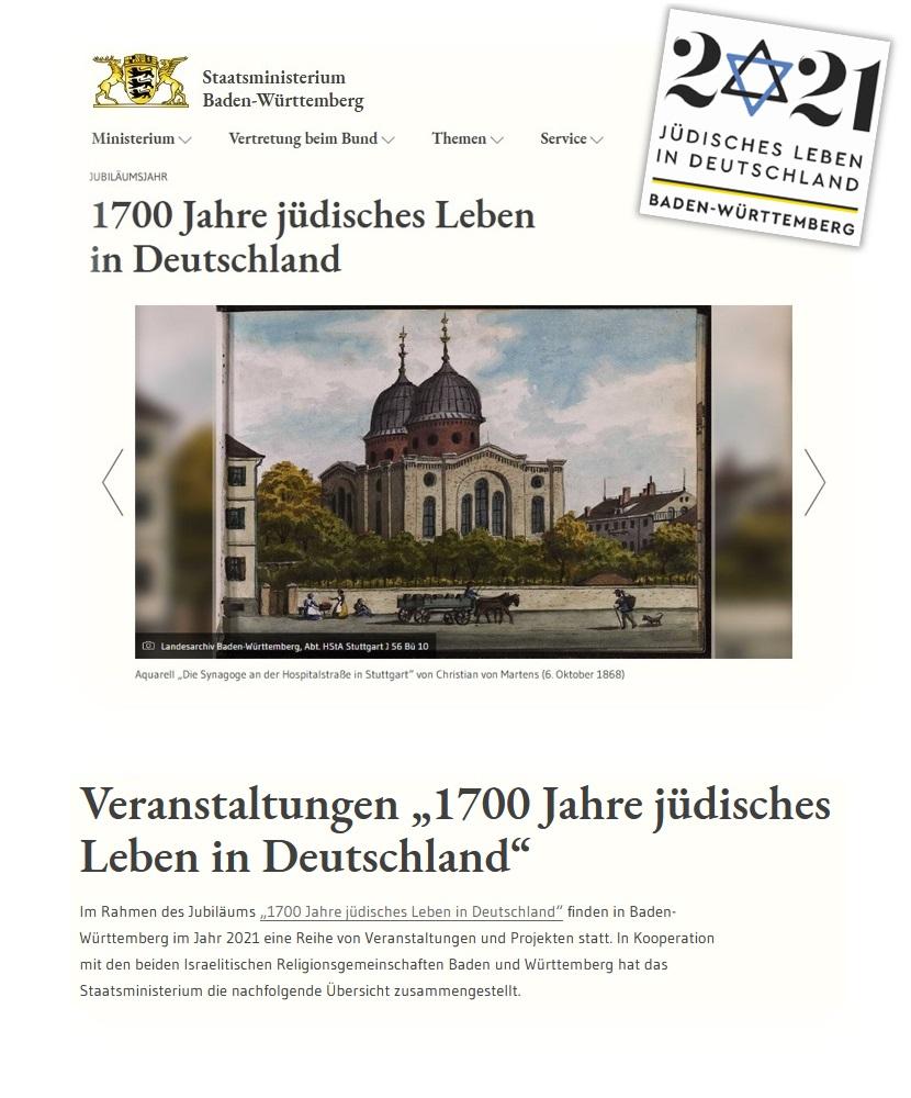 Website des Staatsministeriums Baden-Württemberg zum Jubiläumsjahr 1.700 Jahre Jüdisches Leben in Deutschland