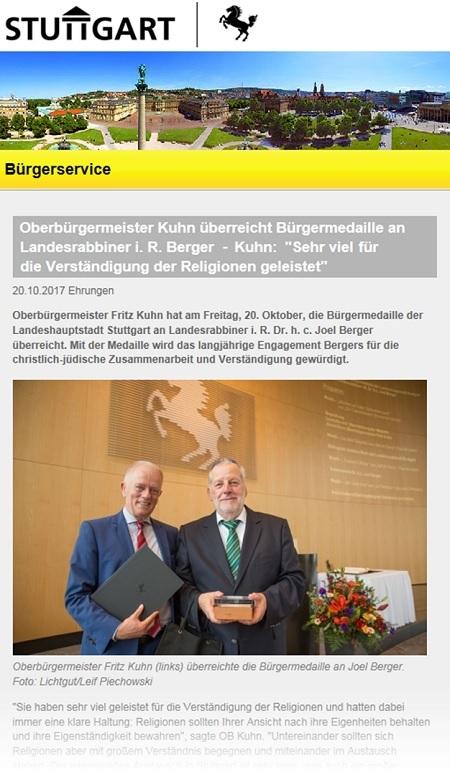 Oberbürgermeister Kuhn überreicht Bürgermedaille an Landesrabbiner i. R. Berger - Kuhn: 'Sehr viel für die Verständigung der Religionen geleistet'