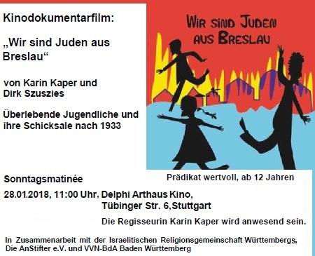 Wir sind Juden aus Breslau - Kinodokumentarfilm von Karin Kaper und Dirk Szuszies am So, 28.11.2018, 11.00 Uhr, Delphi Arthaus Kino