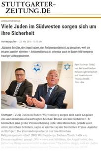 Stuttgarter Zeitung, 25.05.2018: Viele Juden im Südwesten sorgen sich um ihre Sicherheit