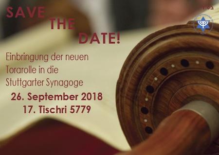 Einbringung der neuen Torarolle für die Stuttgarter Gemeinde am Mittwoch, 26. September 2018 - 17. Tischri 5779