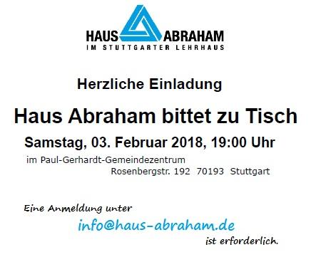 Haus Abraham bittet zu Tisch am Samstag, 03.02.2018, 19.00 Uhr (Mozzej Schabbat) im Evangelischen Gemeindezentrum Rosenbergstraße