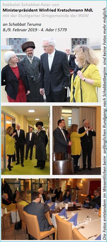 Kabbalat Schabbat-Feier von Ministerpräsident Winfried Kretschmann MdL mit der Stuttgarter Ortsgemeinde der IRGW an Schabbat Teruma, 08./09.02.2019 - 4. Adar I 5779
