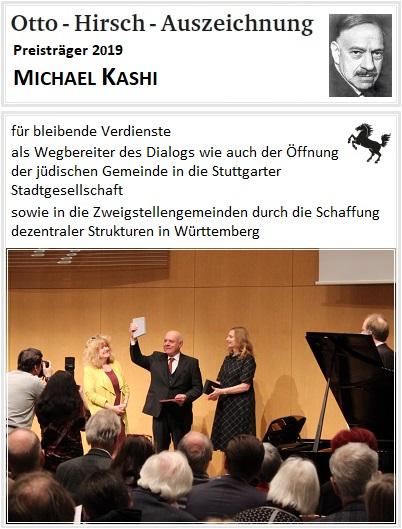 Verleihung Otto-Hirsch-Auszeichnung 2019 an Michael Kashi für bleibende Verdienste als Wegbereiter des Dialogs wie auch der Öffnung der jüdischen Gemeinde in die Stuttgarter Stadtgesellschaft sowie in die Zweigstellengemeinden durch die Schaffung dezentraler Strukturen in Württemberg