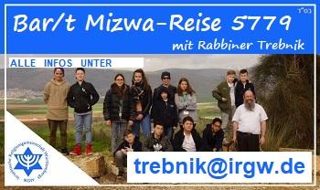 Bar/t Mizwa-Reise der IRGW 5779 mit Rabbiner Shneur Trebnik. Alle Infos unter trebnik@irgw.de
