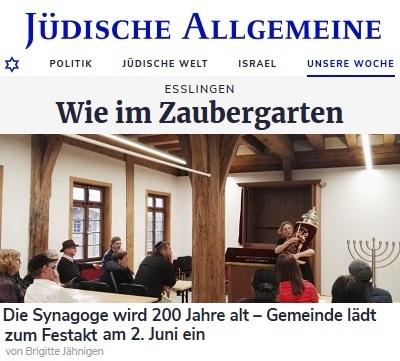 Esslingen - Wie im Zaubergarten. Die Synagoge wird 200 Jahre alt - Gemeinde lädt zum Festakt am 2. Juni ein. Von Brigitte Jähnigen
