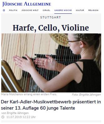 Jüdische Allgemeine, 11.07.2019: Harfe, Cello, Violine