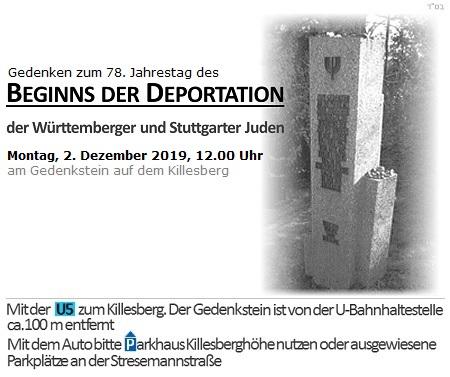 Gedenken anlässlich des 78. Jahrestags des Beginns der Deportation der Württemberger und Stuttgarter Juden