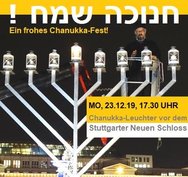 Feierliches Entzünden der Chanukka-Lichter in Stuttgart vor dem Neuen Schloss