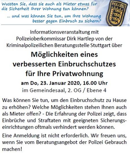 Möglichkeiten eins verbesserten Einbruchschutzes für Ihre Privatwohnung - Infoveranstaltung mit POK Dirk Hartlep von der Kriminalpolizeilichen Beratungsstelle Stuttgart am Donnerstag, 23.01.2020, 16.00 Uhr, IRGW-Gemeindezentrum Hospitalstraße/Stuttgart