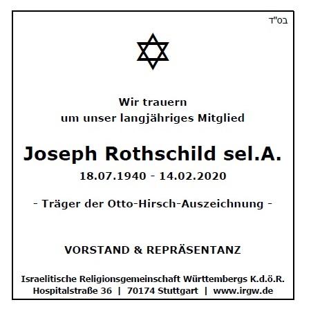 Wir trauern um unser langjähriges Mitglied Joseph Rothschild sel.A., Träger der Otto-Hirsch-Auszeichnung - Vorstand & Repräsentanz der IRGW