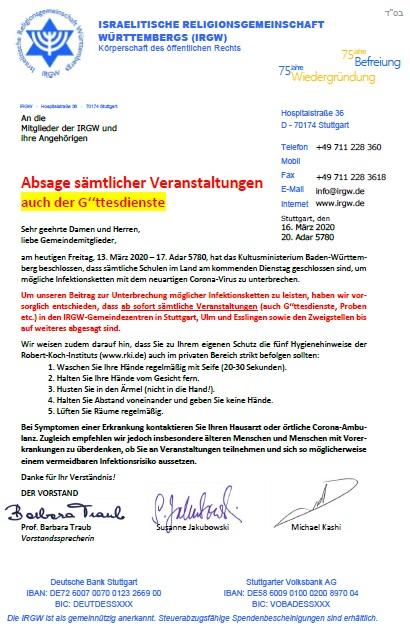Absage sämtlicher Veranstaltungen - Deutsch