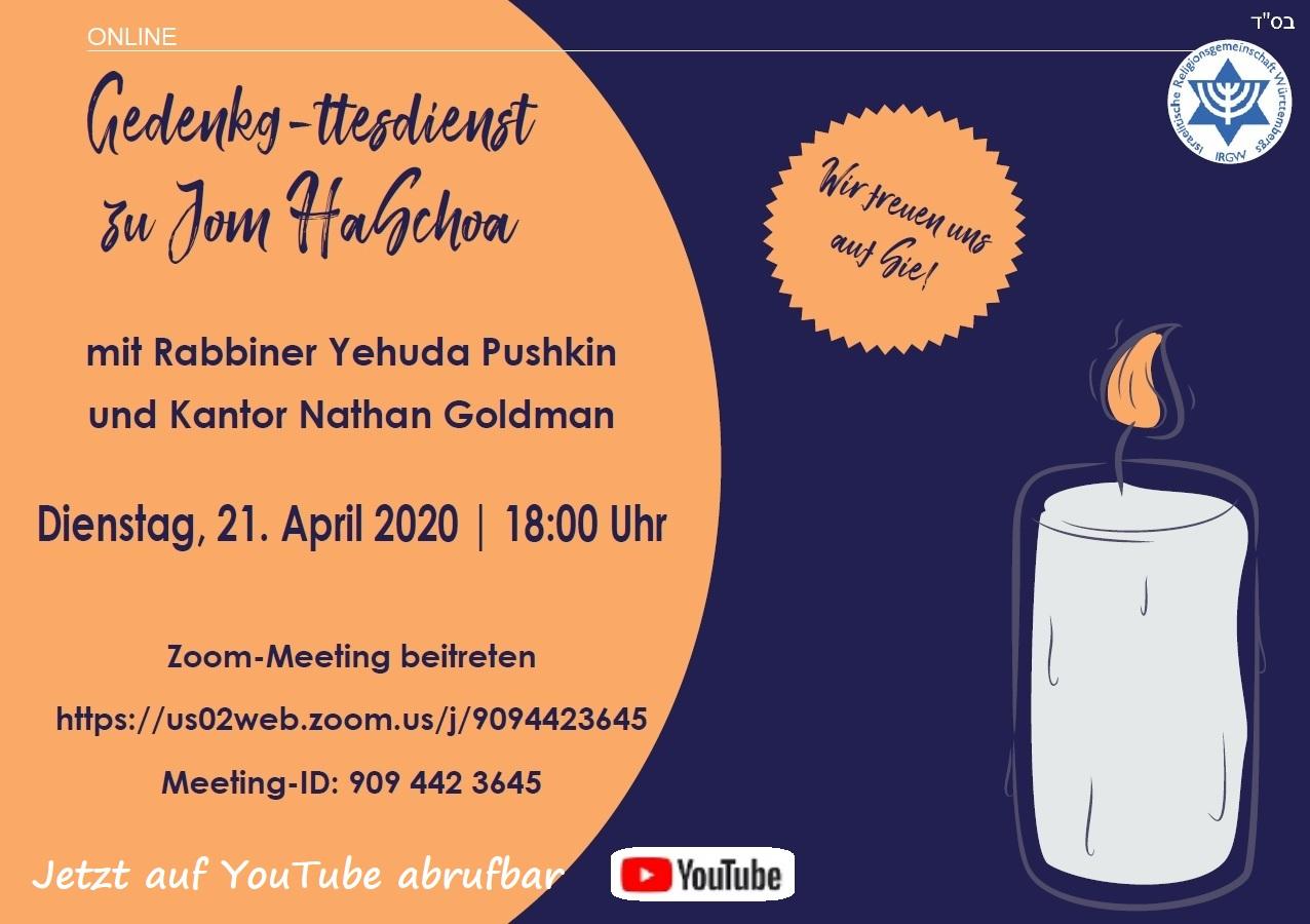 Online-Gedenkg''ttesdienst anlässlich Jom HaShoha 5780 am Di, 21.04.2020, 18.00 Uhr