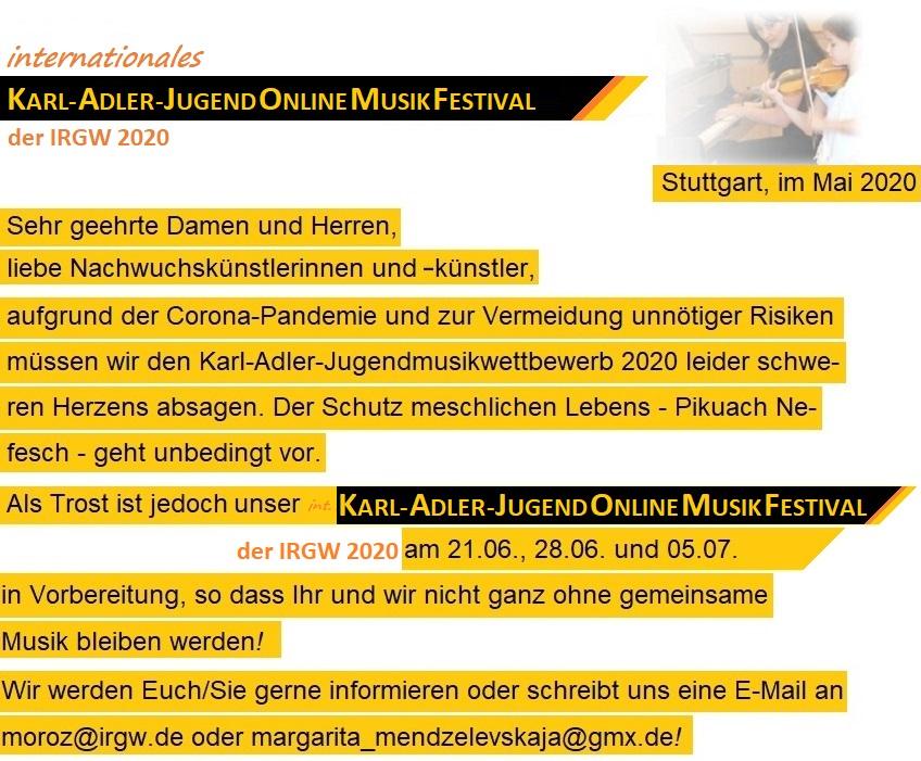 Absage Karl-Adler-Jugendmusikwettbewerb 2020