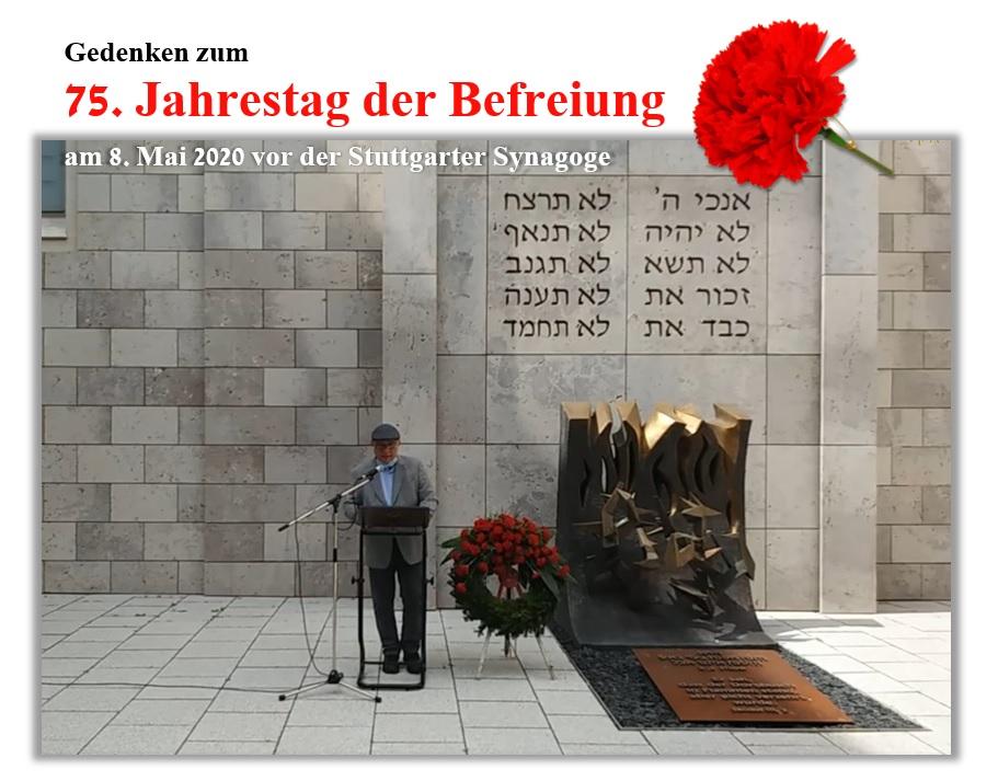 Gedenken anlässlich des 75. Jahrestags der Befreiung am 8. Mai 2020 vor der Stuttgarter Synagoge