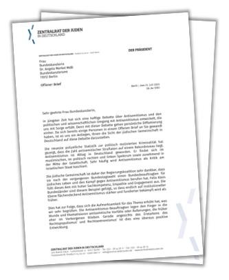 Offener Brief an Bundeskanzlerin Dr. Angela Merkel - Zentralrat der Juden stellt sich hinter Antisemitismusbeauftragten Felix Klein