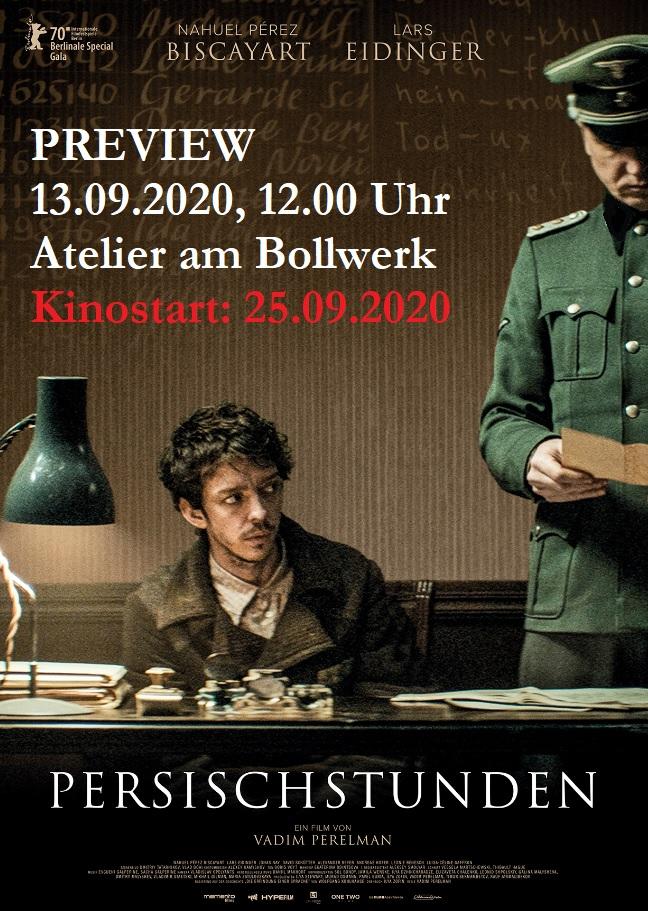 Persischstunden - Kino-Preview am 13.09.2020, 12.00 Uhr, Atelier am Bollwerk