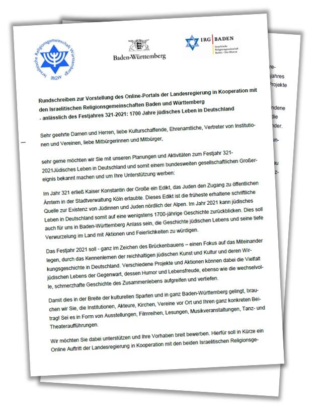 Rundschreiben zur Vorstellung des Online-Portals der Landesregierung in Kooperation mit den Israelitischen Religionsgemeinschaften Baden und Württemberg anlässlich des Festjahres 321-2021: 1700 Jahre jüdisches Leben in Deutschland