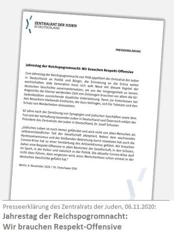 Presseerklärung des Zentralrats der Juden zum 82. Jahrestag der Novemberpogrome