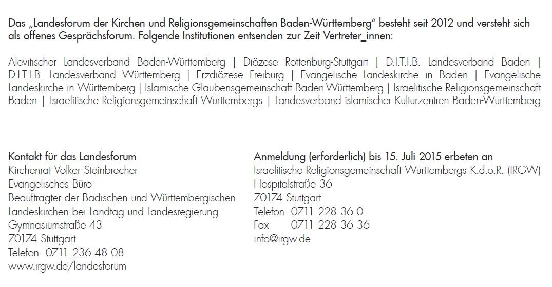 Das Landesforum der Kirchen und Religionsgemeinschaften Baden-Württemberg gibt sich die Ehre, Sie sehr herzlich zum Vortragsabend
